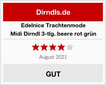 Edelnice Trachtenmode Midi Dirndl 3-tlg. beere rot grün Test