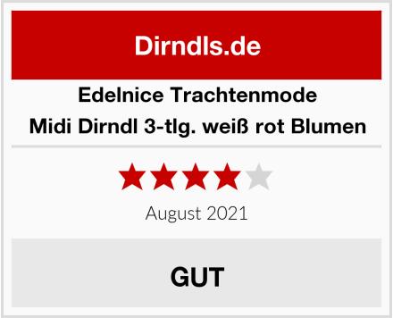 Edelnice Trachtenmode Midi Dirndl 3-tlg. weiß rot Blumen Test