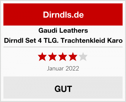 Gaudi Leathers Dirndl Set 4 TLG. Trachtenkleid Karo Test