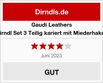 Gaudi Leathers Dirndl Set 3 Teilig kariert mit Miederhaken Test