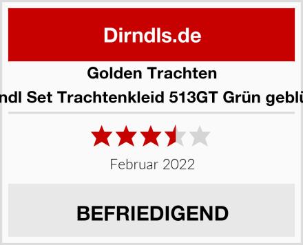 Golden Trachten Dirndl Set Trachtenkleid 513GT Grün geblümt Test