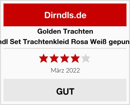 Golden Trachten Dirndl Set Trachtenkleid Rosa Weiß gepunktet Test
