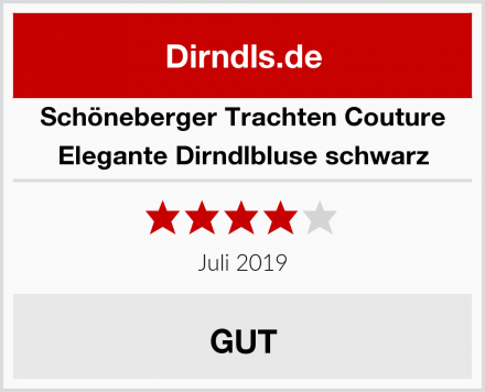 Schöneberger Trachten Couture Elegante Dirndlbluse schwarz Test