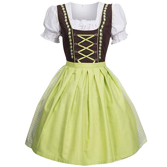 Bongossi-Trade Dirndl 3 TLG.Trachtenkleid Kleid braun grün