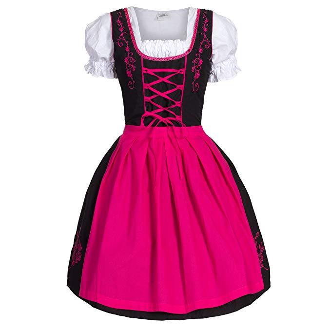 Bongossi-Trade Dirndl 3 TLG.Trachtenkleid pink