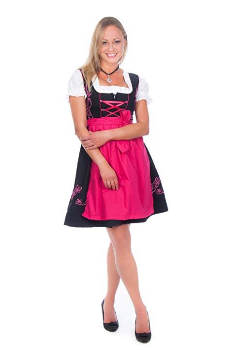 Edelnice Trachtenmode Mini Dirndl 3-teilig schwarz pink