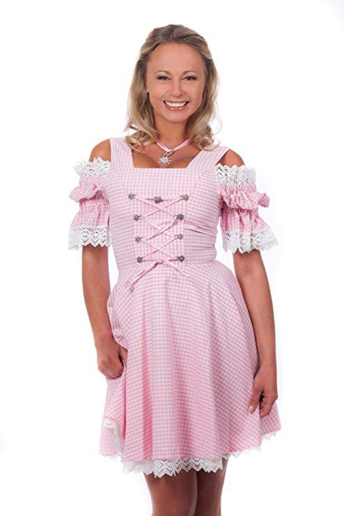 Edelnice Trachtenmode Mini Dirndl rosa weiß kariert schulterfrei