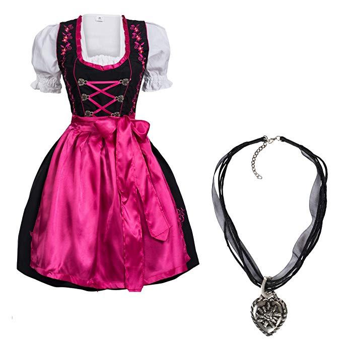 Gaudi-Leathers  Dirndl Set Schwarz Pink