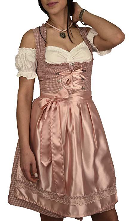 Golden Trachten Dirndl Set Trachtenkleid Rosa Weiß gepunktet