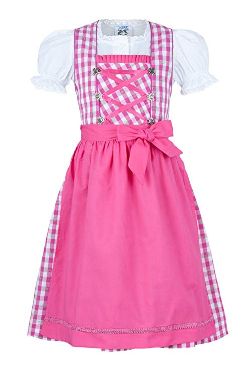 Isar Trachten Mädchendirndl pink 3-TLG