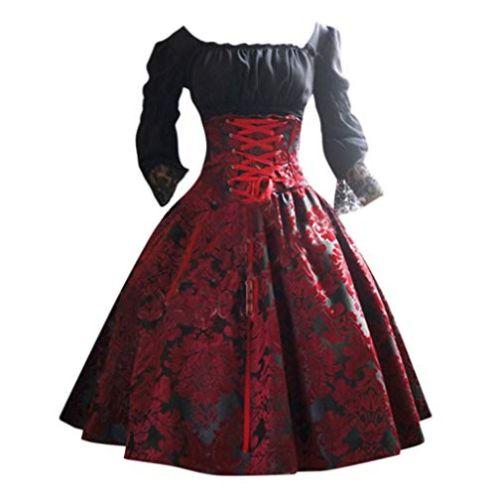 MEIbax Damen Vintage Punk Prinzessin Kleid