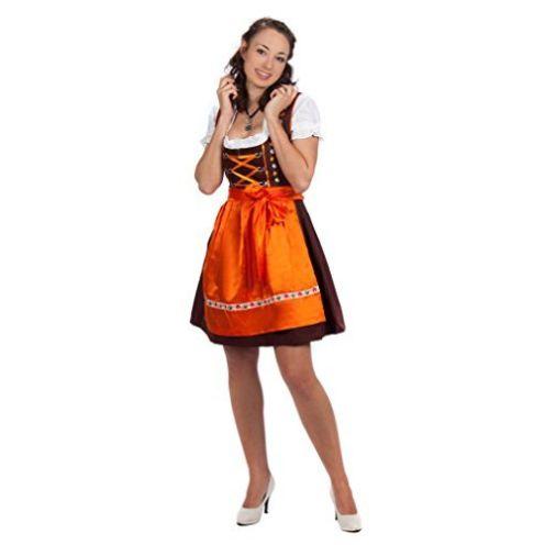 Edelnice Trachtenmode Mini Dirndl 3-TLG. braun orange