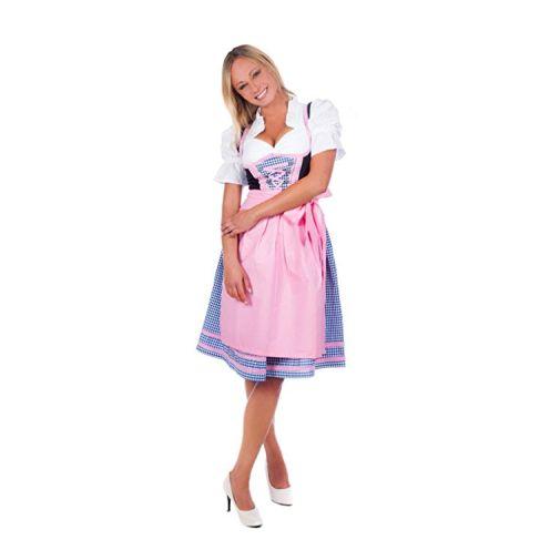 Edelnice Trachtenmode Mini Dirndl 3-tlg. blau kariert rosa