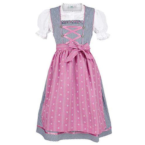 Isar Trachten Mädchen Kinderdirndl Marine pink mit Bluse